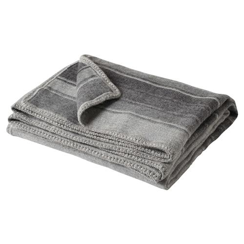 Striped Grey Alpaca Wool Crochet Edge Throw Blanket | Kathy Kuo Home