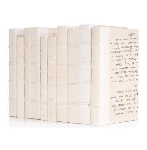 Linear Foot Vintage Antique White Vellum Decorative Book | Kathy Kuo Home