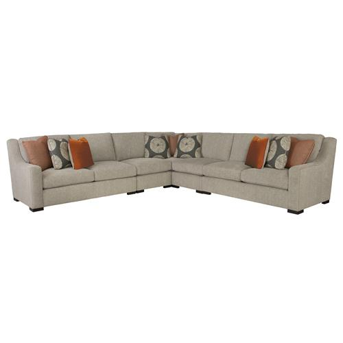 Denis modern classic tweed grey sectional sofa kathy kuo for Grey tweed sectional sofa
