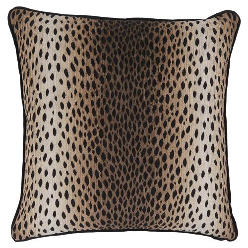 Lava Regency Black Linen Cheetah Print Pillow - 22x22 | Kathy Kuo Home