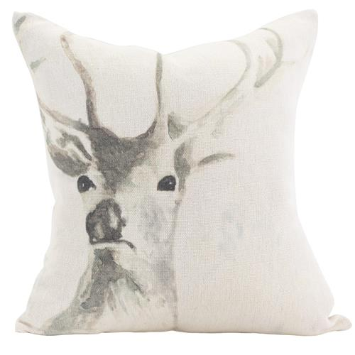 Stag Rustic Lodge Ivory Linen Pillow - 20x20 | Kathy Kuo Home