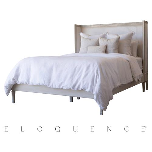 Eloquence Antique Linen Cassia Dove Velvet Bed - Queen | Kathy Kuo Home