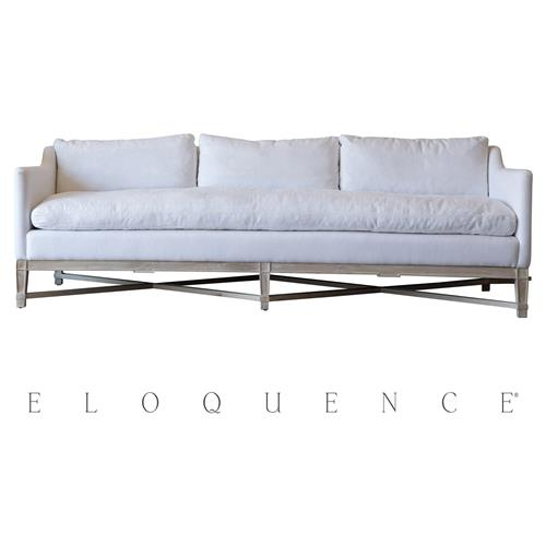 Eloquence White Linen Worn Oak  Scandinavian Sofa | Kathy Kuo Home