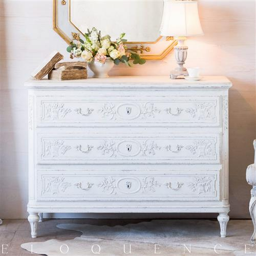 Eloquence Bronte Commode in Weathered White | Kathy Kuo Home