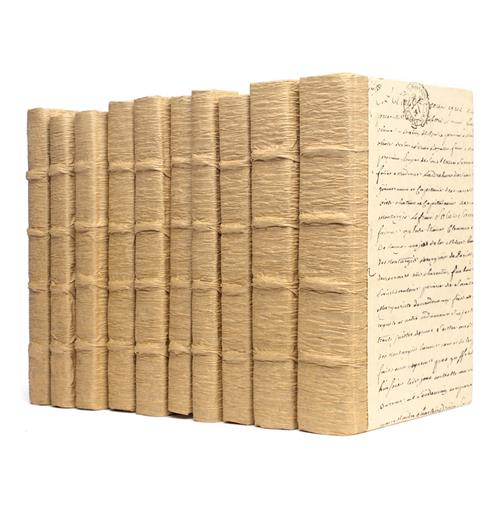 Linear Foot Wood Bark Script Decorative Book | Kathy Kuo Home