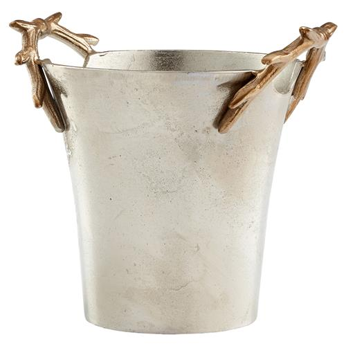 Gold Antler Rustic Lodge Pewter Silver Ice Bucket | Kathy Kuo Home