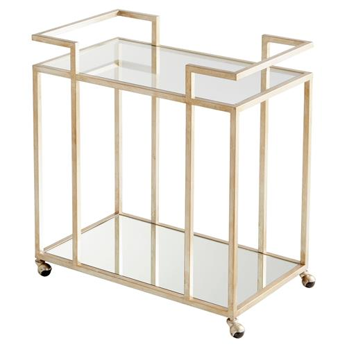 Moma Regency Antique Silver Glass Bar Cart | Kathy Kuo Home