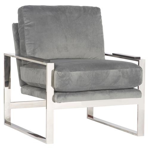 Michael Weiss Soho Modern Grey Velvet Stainless Steel Arm Chair | Kathy Kuo Home
