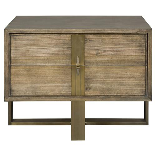 Thom Filicia Marcelus Rustic Lodge Slate Wood Satin Brass Nightstand | Kathy Kuo Home