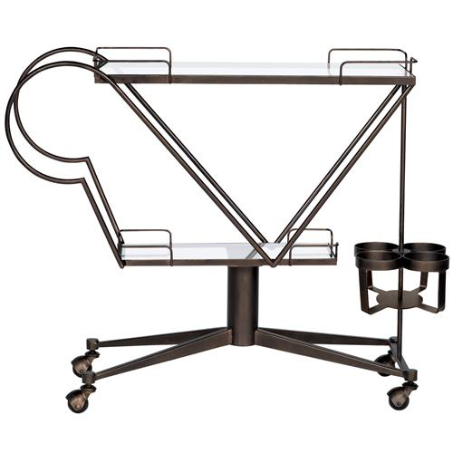 Axil Modern Industrial Bronze Metal Black Glass Bar Cart