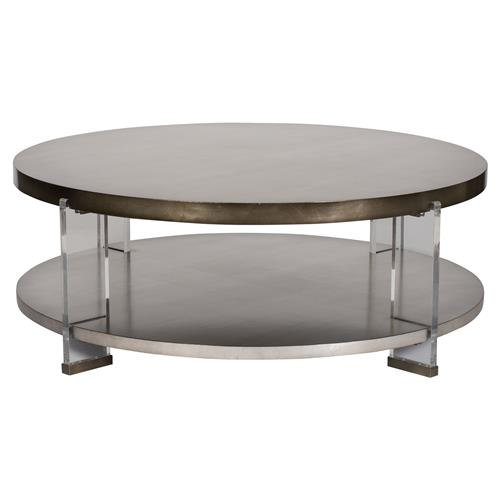 Sansom Modern Brass Acrylic Mink Leaf Round Coffee Table Kathy Kuo Home