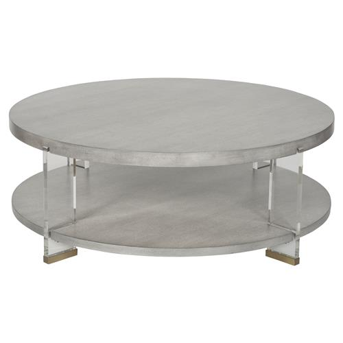Sansom Modern Brass Acrylic Dove Grey Round Coffee Table Kathy Kuo Home