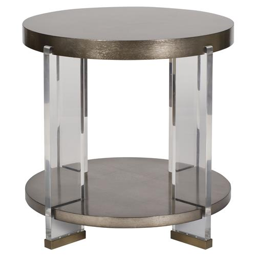 Vanguard Dell Modern Brass Acrylic Mink Leaf Round End Table