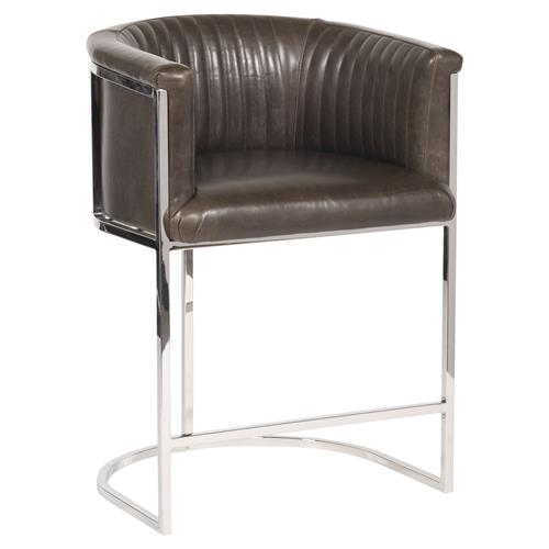 Vanguard Harrison Industrial Modern Brown Leather Polished Steel Counter Stool | Kathy Kuo Home