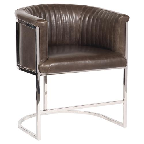 Vanguard Harrison Industrial Modern Brown Leather Polished Steel Dining Chair | Kathy Kuo Home