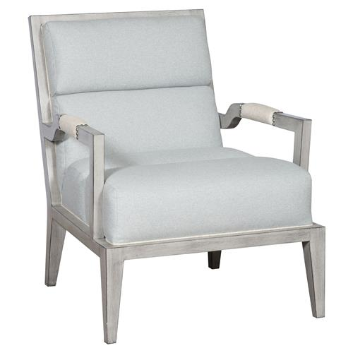 Thom Filicia Armory Coastal Cloud Blue Square Back Dove Grey Armchair | Kathy Kuo Home