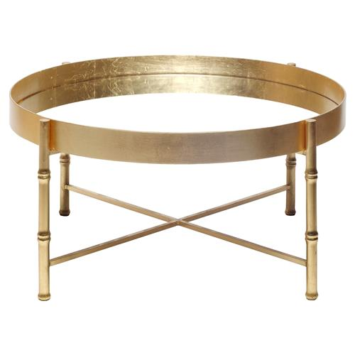 Arceli Bazaar Gold Bamboo Mirror Coffee Table Kathy Kuo Home