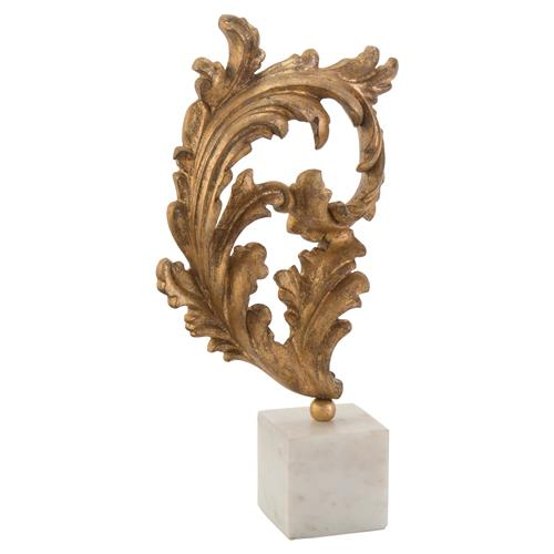 John-Richard Regency Gold Baroque Leaf Marble Sculpture - Large | Kathy Kuo Home