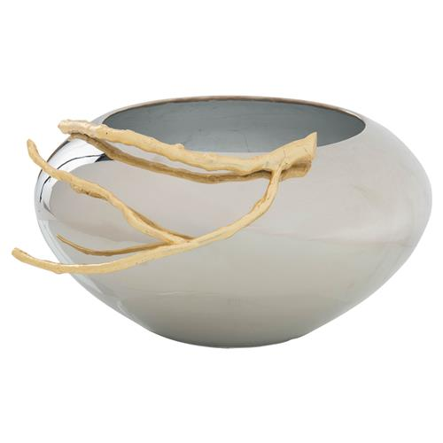 John-Richard Modern Gold Branch Plated Nickel Decorative Bowl | Kathy Kuo Home