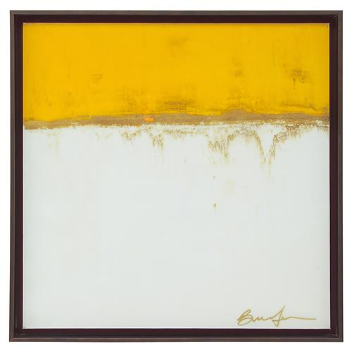 Yellow Ochre Block Ivory Giclee Canvas Painting | Kathy Kuo Home
