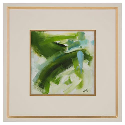 John-Richard Daze Green Sky Abstract Ivory Gold Giclee Painting | Kathy Kuo Home