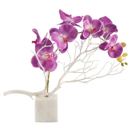 John-Richard Bazaar Purple Asian Orchid White Marble Faux Floral | Kathy Kuo Home
