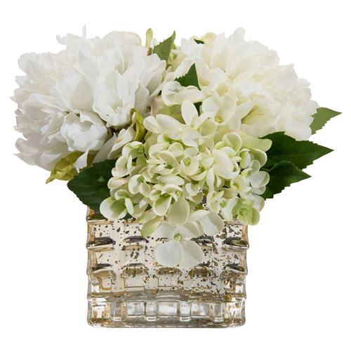 John-Richard Peony Hydrangea Mercury Glass Faux Floral Arrangement | Kathy Kuo Home