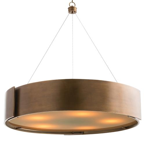 Arteriors Dante Loft Brass Banded Round Frosted Pendant | Kathy Kuo Home