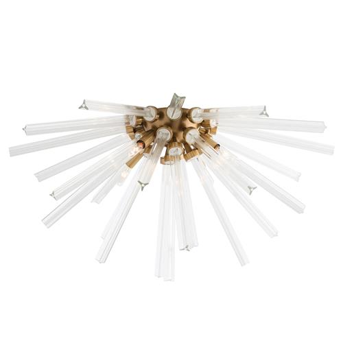 Arteriors Hanley Modern Burst Glass Rod Brass Ceiling Mount | Kathy Kuo Home