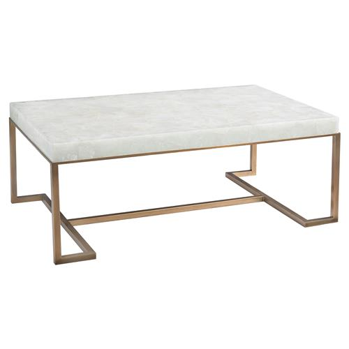 John-Richard Anthea Regency Calcite Slab Antique Brass Rectangular Coffee Table | Kathy Kuo Home