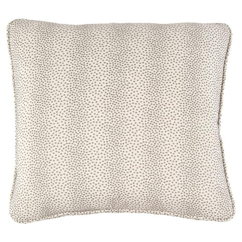 John-Richard Brodie Regency Textured Dotted Grey Ivory Pillow - 22x22 | Kathy Kuo Home