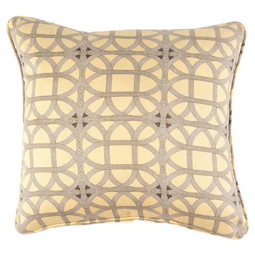 Modern Retro Pillows : Deon Modern Retro Yellow Grey Pattern Pillow - 22x22 Kathy Kuo Home
