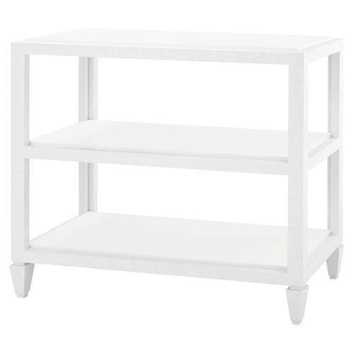 Delen Coastal Lacquer Grasscloth White Console Table