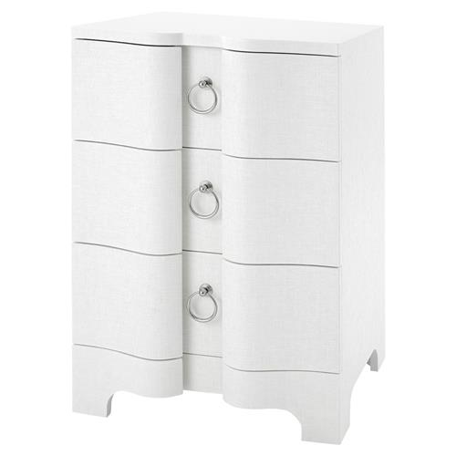 Bungalow 5 Bardot Coastal White Lacquer Grasscloth Nightstand | Kathy Kuo Home