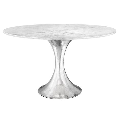 Quinton Silver Tulip White Marble Round Dining Table 51 5 Quot D
