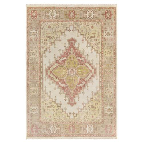 Kaori Bazaar Vibrant Rose Pink Traditional Wool Rug - 3'9x5'9 | Kathy Kuo Home
