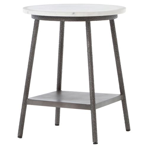 Amaris Loft White Marble Hammered Grey Side Table | Kathy Kuo Home