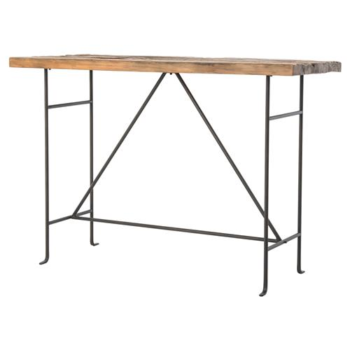 Jenkin rustic lodge bleached pine slim metal bar table for 12 bar blues table