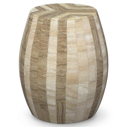 Palecek Dali Stool Bazaar Tan Beige Inlaid Stone Stool End Table | Kathy Kuo Home