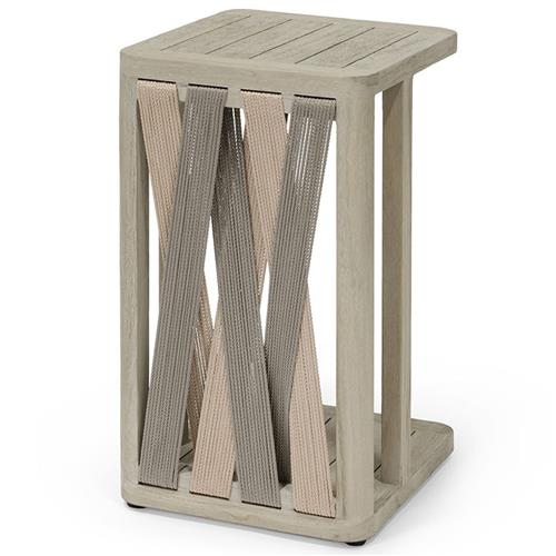 Palecek Boca Coastal Beach Grey Teak Woven Rope Outdoor Side End Table | Kathy Kuo Home