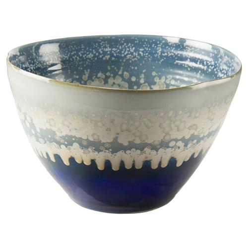 John-Richard Blue Cream Reactive Glaze Deep Ceramic Bowl | Kathy Kuo Home
