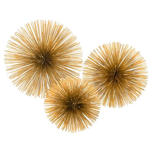 John-Richard Gold Spiked Burst Regency Orbs - Set of 3 | Kathy Kuo Home