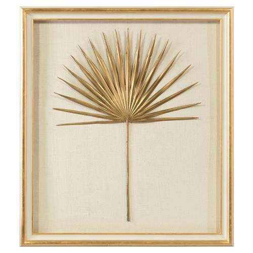 John-Richard Palm Frond Gold Leaf Ivory Shadowbox - II | Kathy Kuo Home