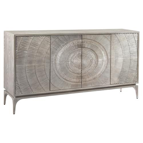 John-Richard Laila Regency Radiating Silver Grey Oak Sideboard | Kathy Kuo Home