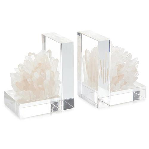 John-Richard Quartz Cluster Clear Crystal Bookends - Pair | Kathy Kuo Home