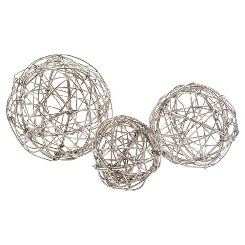 Polished Nickel Wrapped Wire Orbs - Set of 3 | Kathy Kuo Home
