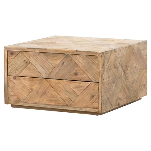 Derona Lodge Pine Parquet Hidden Drawer Square Storage Coffee Table | Kathy Kuo Home