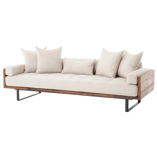 LLoyd Rustic Loft Natural Linen Exposed Wood Sofa | Kathy Kuo Home