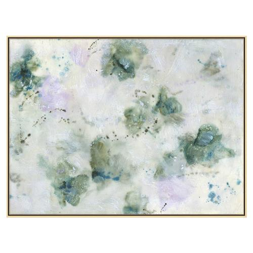 Hazel Lavender Teal Clouds Encaustic Matte Painting - I | Kathy Kuo Home