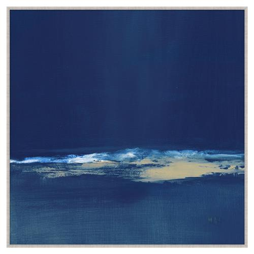 Everly Navy Blue Abstract Giclee Gallery Wrapped Canvas - II | Kathy Kuo Home